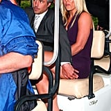 Britney Spears and Jason Trawick were shuttled to the Fox Upfronts party in NYC in a golf cart.