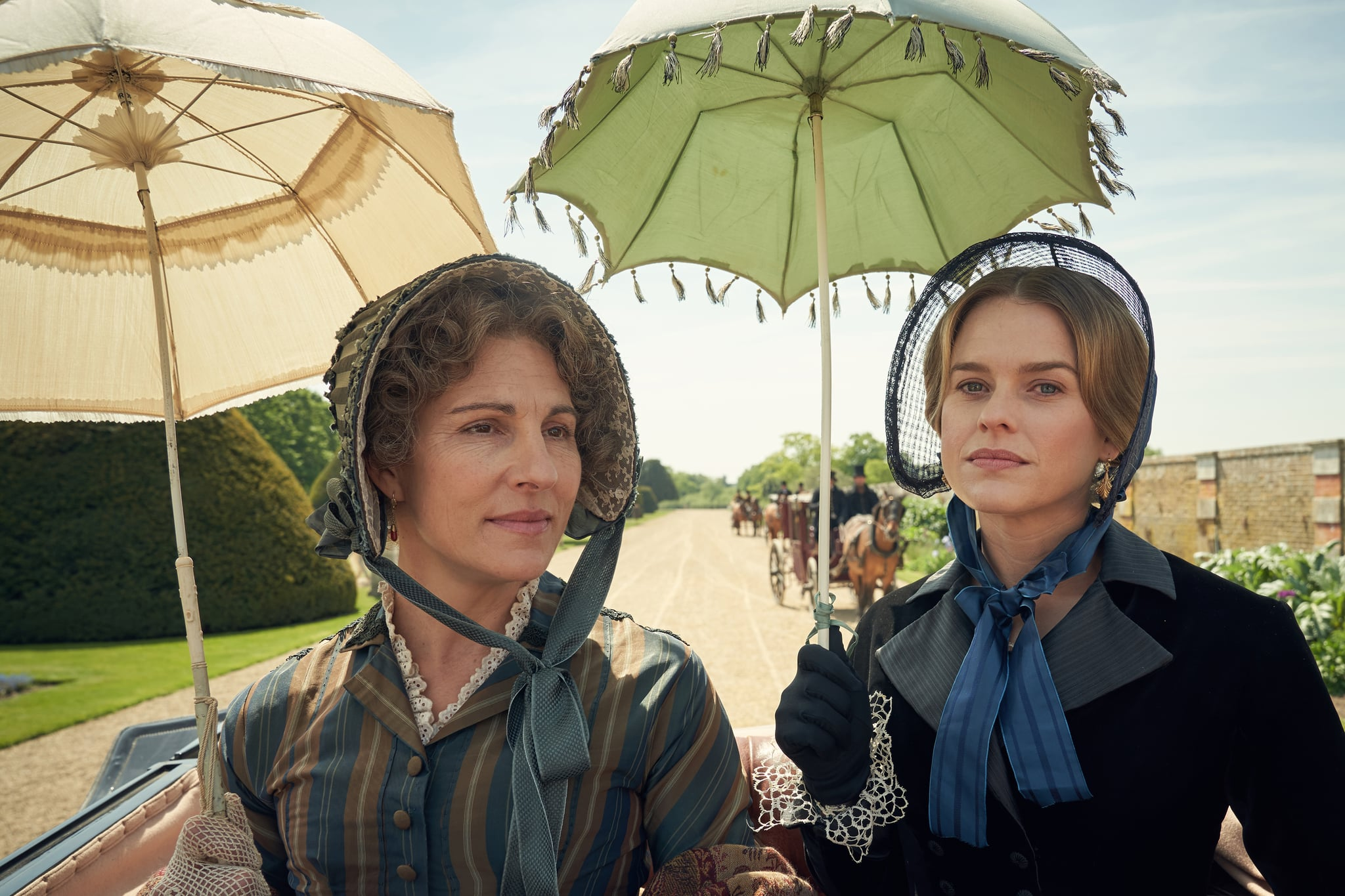 EMBARGIOED UNTIL 5.00PM ON 4TH jUNE 2019.CARNIVAL FILMS FOR ITVBELGRAVIAPictured:TAMSIN GREIG as Anne Trenchard and ALICE EVE as Susan Trenchard.This image is the copyright of Carnival Films.