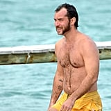Jude Law stepped out in yellow swim trunks on the South of France.