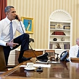 He actually put his foot on the Resolute desk.