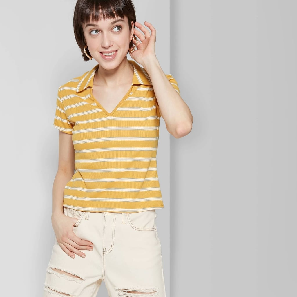 43d5a042d11 Women's Striped Short Sleeve V-Neck Cropped Polo Shirt | Best Wild ...