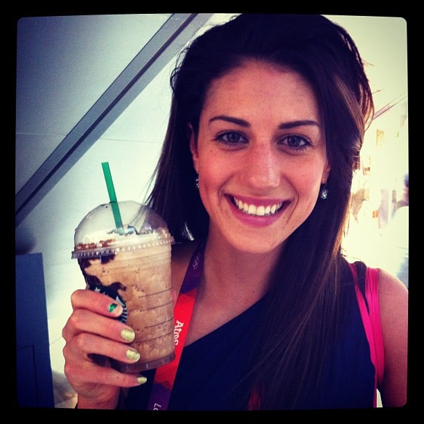 Stephanie Rice treated herself to a Starbucks frappe when her races were over. Source: Instagram user itsstephrice