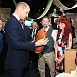 Prince William stopped to admire the bags while chatting to the bag makers, Keith and Gail Hanshaw.
