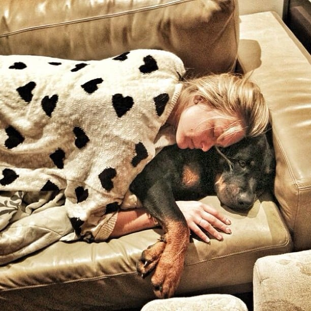 We're not sure who's happier about being cozy: Bar Refaeli or her happy dog. Source: Instagram user barrefaeli