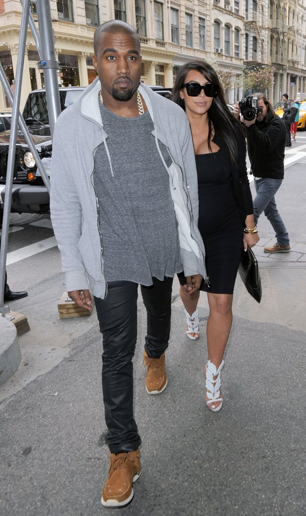 Kanye West and Kim Kardashian walked in NYC together.
