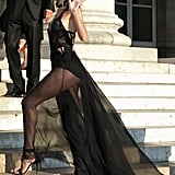 She Walked the Steps, Showing Off Her Sheer Train