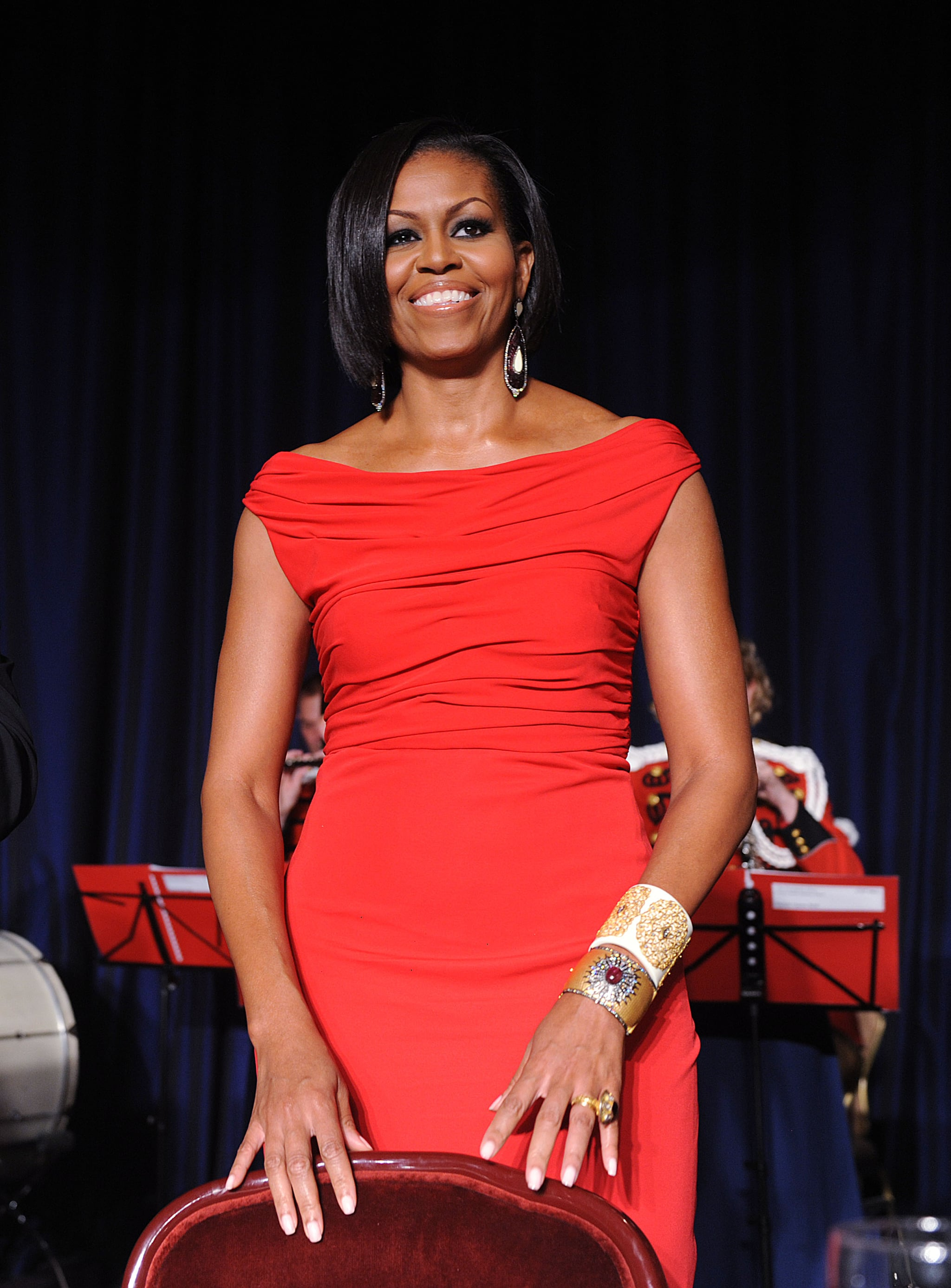 Michelle chose a red, drapey Prabal Gurung gown for the 2010 White House Correspondents' Dinner.
