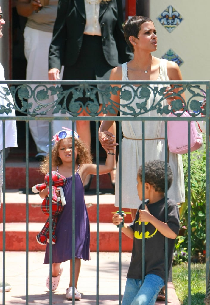 Halle Berry went shopping in LA for party supplies on Friday before swinging by her daughter Nahla's school to drop them off. The famous mom strode past a life-sized cutout of Prince William and Kate Middleton as she left the novelty store Aahs! with her purchases for the pre-Fourth of July kids' bash. Halle, who last filmed the movie New Year's Eve, has been focusing on her little one lately. Halle and Gabriel Aubry are working out a custody agreement, and while the court case between the former partners has become a bit tense, they've both been spending quality time with their daughter. Halle and Nahla visited the park and went on a lunch date late last month, and Nahla also hung out in Santa Monica for a recent weekend with her dad. Halle may put an end to her hiatus from work soon, as she's rumored to be eyeing both a new TV series and a role in the upcoming film Cloud Atlas.