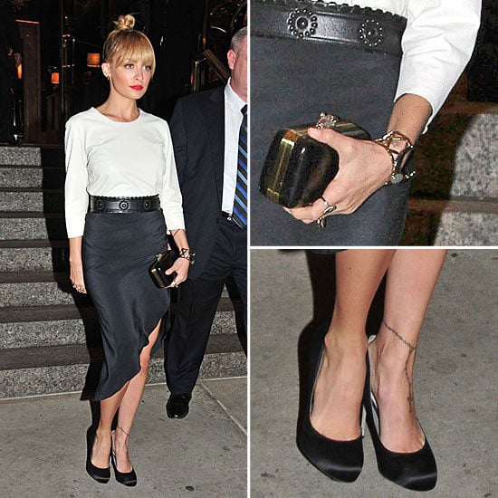 Nicole Richie Steps Out in New York City in Sexy Thigh High Split Skirt: Steal Her Monochrome Style