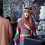 Nicole Kidman as Celeste Wright wearing a colorful graphic print dress and headband.