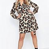 Boohoo Leopard Tie Waist Shirt Dress