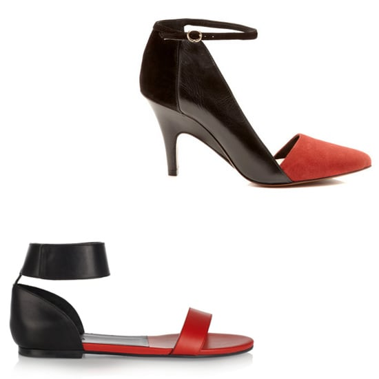 Above: 10 Crosby Derek Lam Val Suede Pointy Toe Pumps  ($295) Below: Chloé Two-Tone Leather Sandals ($525) Related: How to Wear the Fall 2013 Boot Trends