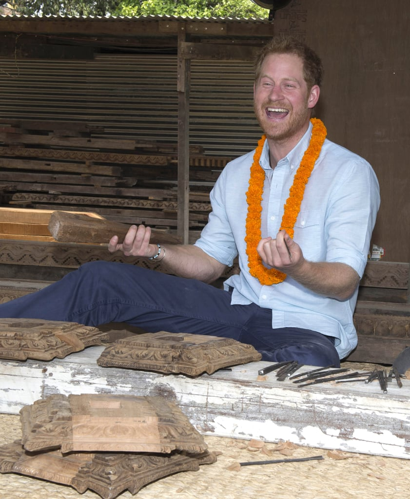 Prince Harry Is Covered in Paint and Flowers During His Stunning Visit to Nepal