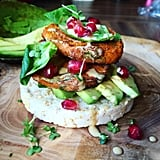 Sweet Potato Mini Patties With Avocado and Pomegranate Seeds