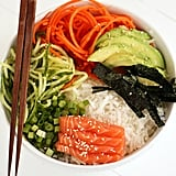 Spiralised Sushi Bowl With Salmon Sashimi and Ginger-Miso Dressing