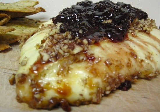 Baked Brie With Pecans and Strawberry Jam