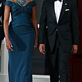 Michelle wearing Marchesa at a 2012 state dinner.