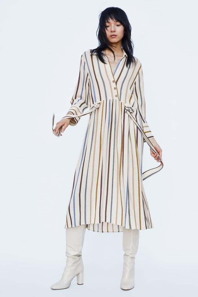 765ecbdfdc7 Zara Belted Striped Dress