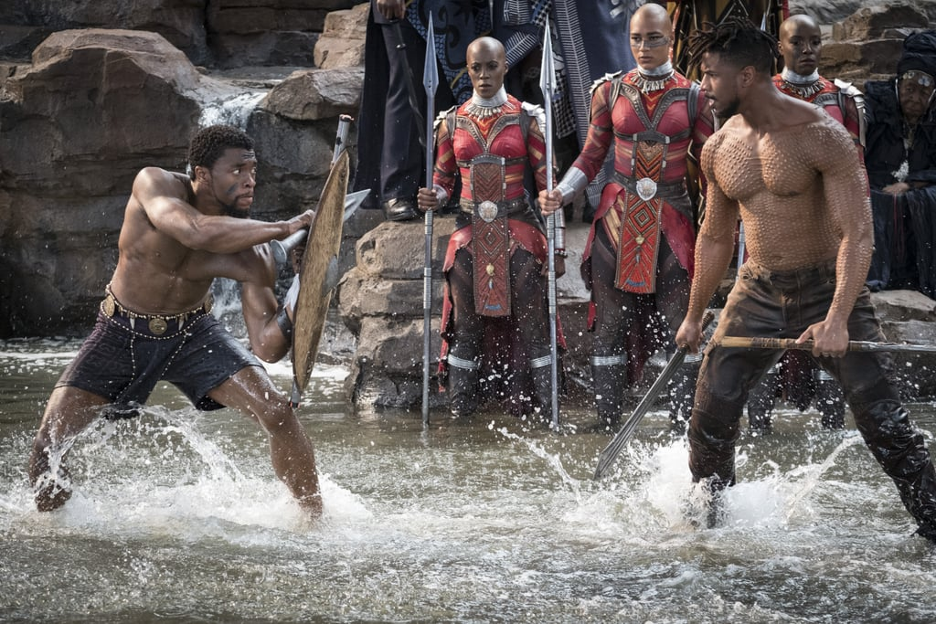 I'm not sure if you've heard, but there's a little movie called Black Panther out now. Not only has Marvel's latest superhero film already smashed ticket presale records to smithereens, but it also features one of the most beautiful casts Hollywood has ever amassed in one film. It's the latter reason — combined with stunning sets and some truly jaw-dropping costumes — that make looking at photos from Black Panther such a wondrous experience. And, to be honest, who doesn't need more shirtless pictures of Chadwick Boseman and Michael B. Jordan in their lives? No one, that's who. Crank up the soundtrack, and read ahead for every gorgeous shot from the Ryan Coogler-directed film.      Related:                                                                                                           Both of Black Panther's End Credits Scenes, Explained