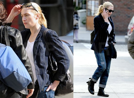 Photos of Kate Winslet Wearing Motorcycle Boots and Jeans in the West Village of NYC