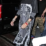 The designer was spotted in Miami rocking a printed kimono with coordinating leggings from her Rihanna for River Island collection in August 2013.