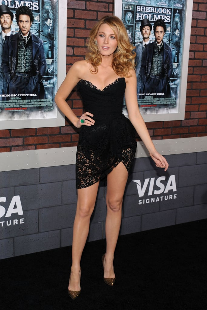 Wearing a Dolce & Gabbana minidress to the 2009 NYC premiere of Sherlock Holmes.