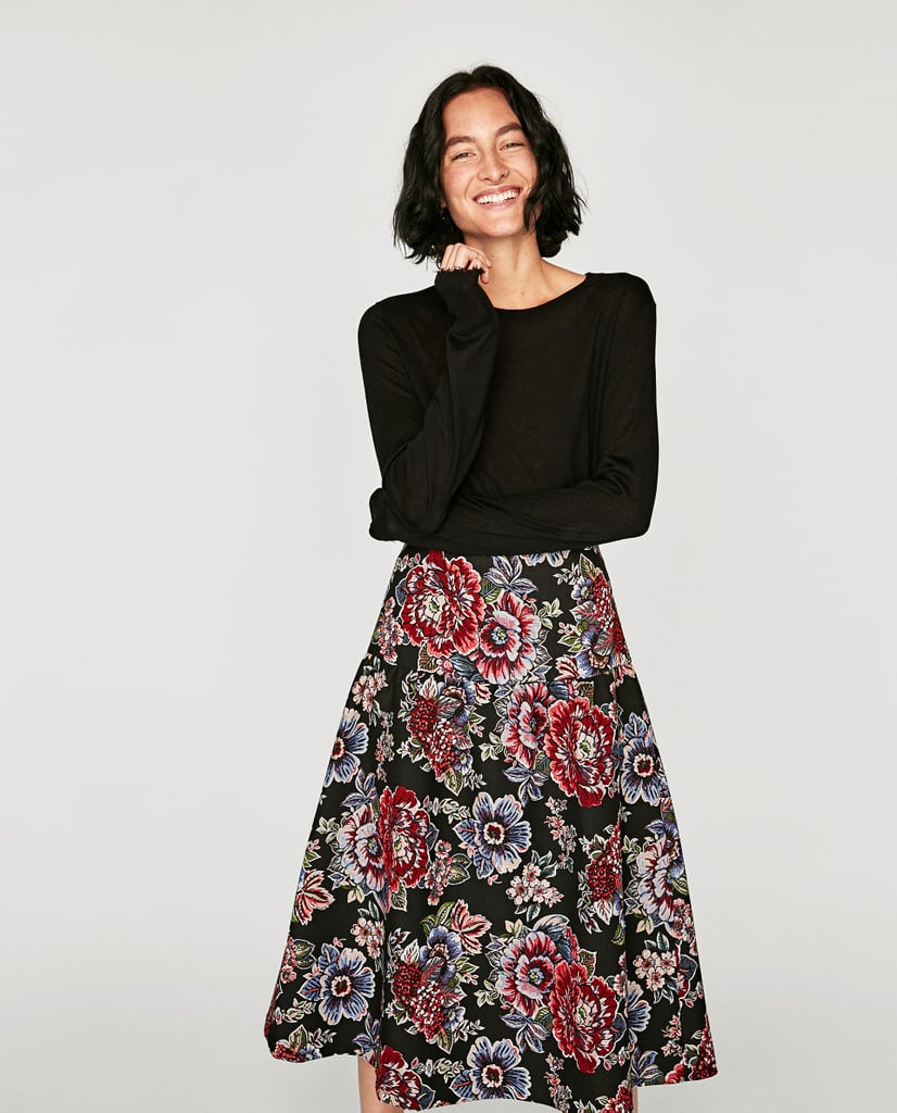 Zara Jacquard Mid-Length Skirt
