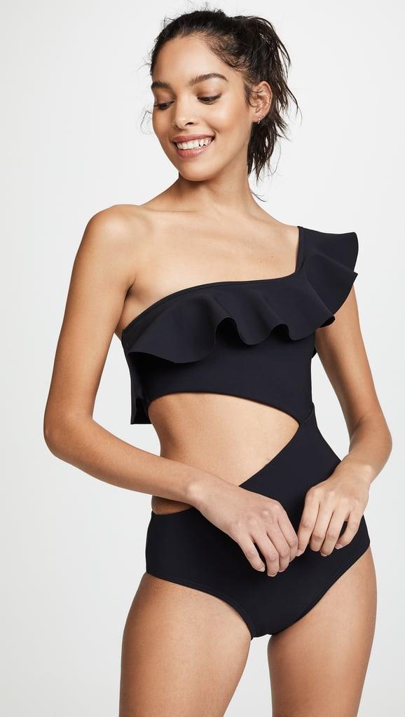 d4dd3992fd5 Lili Reinhart Black Cutout Swimsuit From Aerie