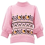 Ganni Intarsia-Knitted Wool-Blend Sweater
