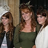 For the wedding of Chloe Delevinge, Cara's big sister, Eugenie wore a burgundy hat with a leaf detail.