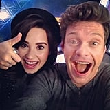 Demi Lovato gave a smile and a thumbs-up while posing with Ryan Seacrest. Source: Instagram user ryanseacrest