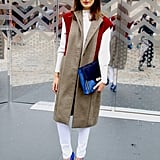 It's official — sleeveless blazers are the toppers of choice at LFW. Source: Hannah Freeman