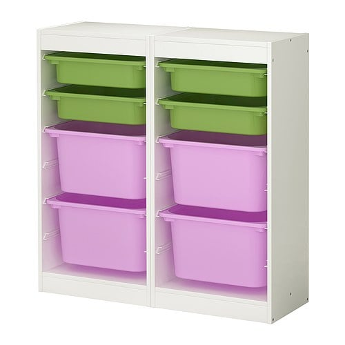 Trofast Storage Combo in White With Multicolor Boxes