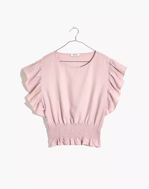 Madewell Linen-Blend Flutter-Sleeve Smocked Top
