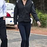 Kate made use of her J. Brand jeans and Sebago boat shoes twice on the trip. Here, she wore a sporty Nike windbreaker to tour Dalvay Lake.