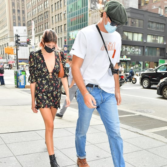 Kaia Gerber Wearing Black Floral Dress With Jacob Elordi