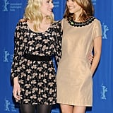 Scarlett smiled with Natalie Portman at the Berlin photocall for The Other Boelyn Girl in 2008.