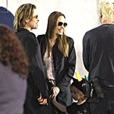 Brad Pitt and Angelina Jolie with their kids at Cirque du Soleil.
