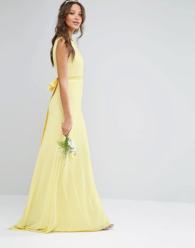 Tfnc tall wedding sateen bow back maxi dress 50 for Yellow wedding dresses for sale