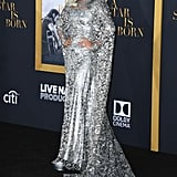 For the LA premiere of A Star Is Born, the 32-year-old star hit the red carpet in a silver gown by Givenchy Haute Couture finished with Bulgari jewels.