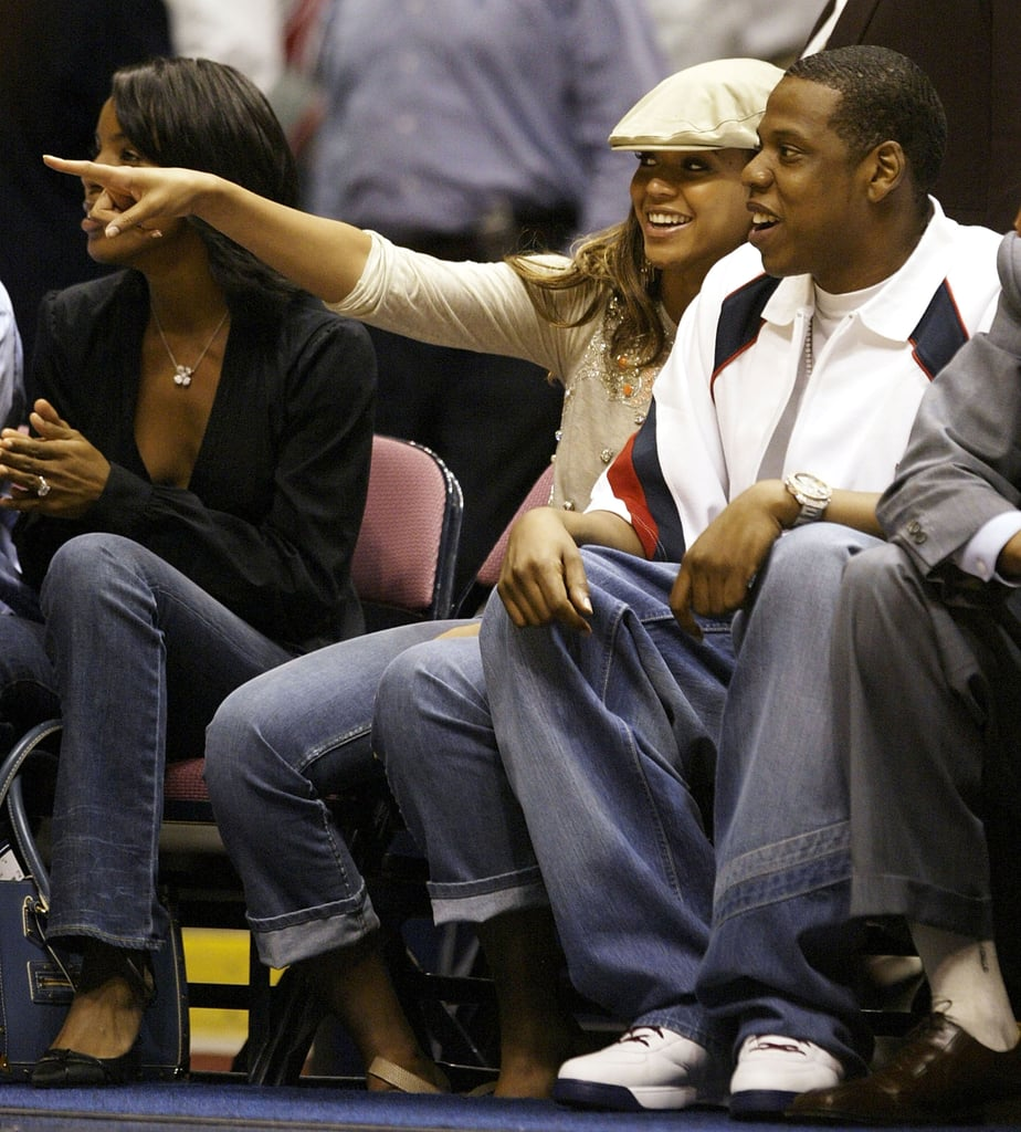 Jay and Beyoncé watched the New Jersey Nets play the Detroit Pistons in May 2004.