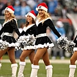 """The Raiderettes cheerleaders perform to the song """"Jingle Bells."""""""