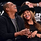 Beyonce and Jay Z at Brooklyn Nets Game 2015