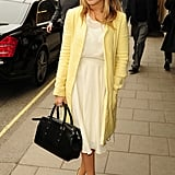 Caggie Dunlop was a vision in Spring yellow at Claridge's in London.