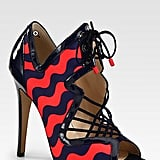 Nicholas Kirkwood is one of my favorite shoe designers right now — he's part of this new wave of quirky luxe designers who view a shoe as a piece of art! This Nicholas Kirkwood wave-print heel ($1,090), is one I know I'll love forever – the red and navy colorway is classic, it's ultra sexy, and it will also look great with my Fall uniform of skinny cropped jeans, t-shirt, and blazer.  — Noria Morales, style director