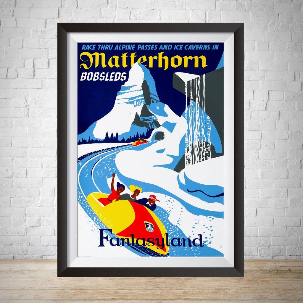 Vintage Disneyland Matterhorn Print