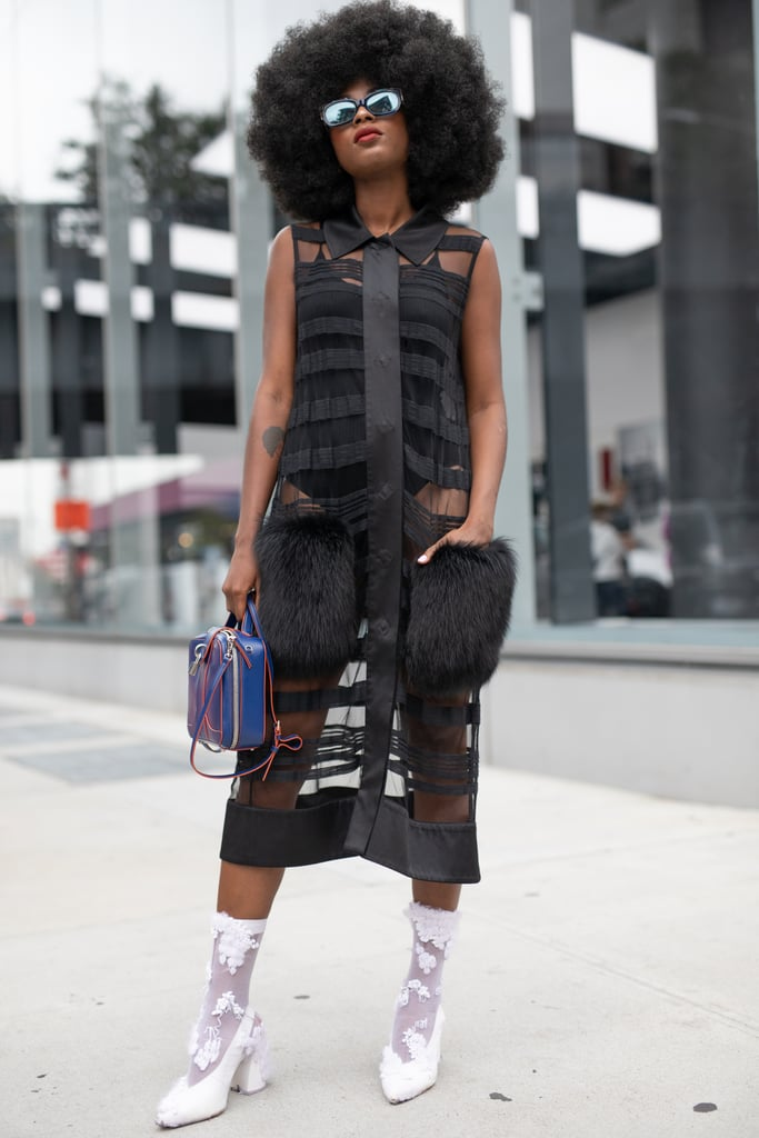 Styling a black sheer dress with a bodysuit.