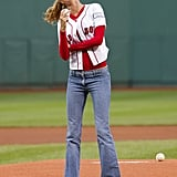 She Worked a Red Sox Baseball Tee to Throw the First Pitch