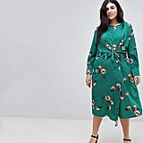 Influence Plus Knot Asymmetric Wrap Front Floral Midi Dress