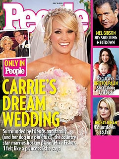 Carrie Underwood posed for a July 2010 People magazine cover following her luxurious country wedding in Georgia.